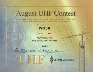 2015 August UHF Contest certificate