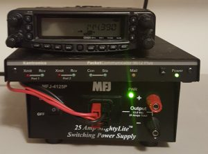 Image of a packet radio station using a Yaesu FT-8900, Kantronics 9612+, and MFJ-4125P power supply.